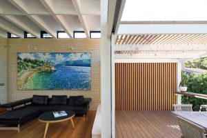 D+K House Architecture sunken living room brick fireplace greenroof northern beaches architects